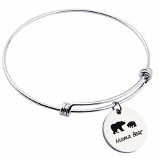 Mama Bear Adjustable Bracelet Stainless Steel Bangle Jewelry Gift for Mother