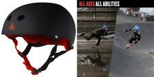Triple Eight Sweatsaver Liner Skateboarding Helmet, Black Rubber w/ Red,.