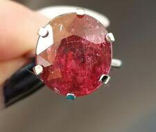 13CT Antique Red Rubellite Tourmaline Platinum ring SZ 6.75