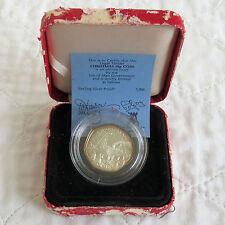 ISLE OF MAN 1990 CHRISTMAS SILVER PROOF 50 PENCE - boxed/coa