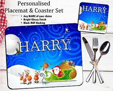 Personalised Christmas Table Placemat & Coaster Set Dinner Mat ANY NAME N21
