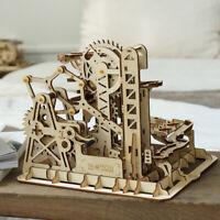 Robotime Wooden Mechanical Gear Model Building Kits DIY Marble Run Coaster Toy