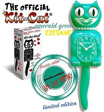 "EMERALD GREEN LADY KIT CAT CLOCK 15.5""LIMITED EDITION Retro Oz Stock"