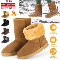 Womens Ladies Winter Fur Lined Ankle Snow Boots Snug Grip Sole  Warm Shoes Size