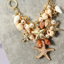 New Starfish Sea Shell Faux Pearl Statement Chain Pendant Chunky Bib Necklace