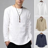 Men's Vintage Cotton Linen Long Sleeve Shirts Loose Casual T Shirts Blouse Tops