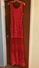 Free People x Candela Coral Lace STELLA MAXI DRESS  ☮ SIZE LARGE