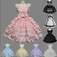 7 Colors Women's Lolita Sweet Cosplay Costume Lace Gothic Dolly Dress Prom Party