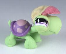 Littlest Pet Shop Turtle #566 Green With Purple Eyes + Hat