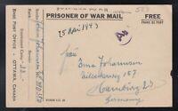 Canada 1944 WWII PETAWAWA Prisoner of War Camp Postal Stationery Card to Hamburg