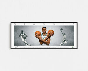 GIANNIS ANTETOKOUNMPO PANORAMIC COLLAGE PRINT SIGNED FRAMED WINGS