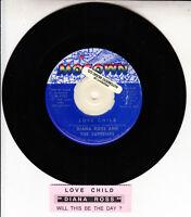 "DIANA ROSS Love Child 45 rpm 7"" vinyl record + juke box title strip"