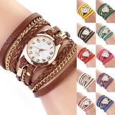 Lovely Liberal Women's Colorful Weave Wrap Rivet Leather Bracelet Wrist Watch