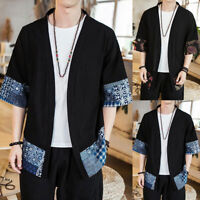 Men's Japanese Casual Ethnic Style Retro Short Sleeve Coat Kimono Jacket Outwear