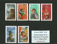 FRANCE 2003 n° 3588-3593 MNH ** Characters of the French Literature