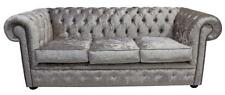 Chesterfield 3 Seater Shimmer Mink Velvet Fabric Sofa Settee