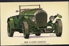 Vintage Motor Cars Postcard - 1925 3 Litre Bentley Car - Edmund Johns  DR69