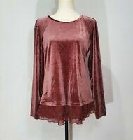 Sundance Womens Medium Red Velvet Long Sleeve Lace Layered Scoop Neck Top