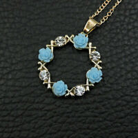 Betsey Johnson Blue Crystal Garland Flower Pendant Sweater Chain Womens Necklace