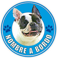 Pegatina Bulldog Francés a Bordo Personalizada con su Nombre 7 colores a elegir