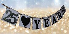Anniversary banner - 25 years - celebration banner - retirement banner - silver,