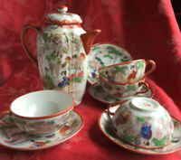 Fabulous Kutani Coffee Pot With 4 Cups and Saucers Signed