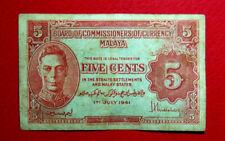 5 cents Malaya 1941 note # 522