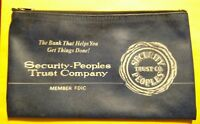 Vintage Security Peoples Trust Company Blue Bank Zipper Deposit Bag  Erie PA