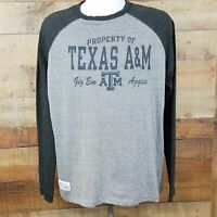 Section 101 Majestic Texas A&M Long Sleeve Raglan T-Shirt Men's Size L Gray OB24