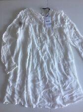 White Lace Embroidery Smock Style Dress XS Size 8 ZARA