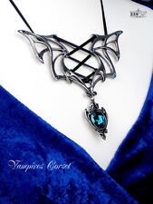 Ladies Girls Pendant Necklace Gothic Style Vampires Bat Blue Swarovski Crystal