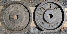 """York Barbell Milled Vintage Olympic 2"""" Weight Plates 35 lbs 2x35 lb Hard To Find"""