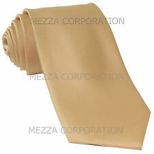New Vesuvio Napoli Men's necktie solid color 100% polyester wedding prom Beige