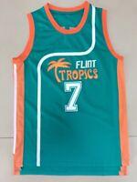 Coffee Black 7 Flint Tropics Semi Pro Movie Basketball Jersey Green All stitched