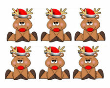 Christmas Reindeer 3D Embellishments Card Making Toppers Crafting x 6