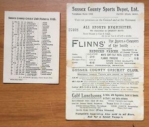 Job lot 1930s Sussex Cricket Memorabilia, Newspaper cuttings, letter