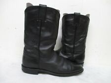 Justin Black Leather Roper Cowboy Boots Womens Size 8 A Style L3703