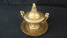 ANTIQUE SEVRES URN OR BOWL GILT PORCELAIN & PLATE