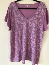 Tilley Floral Lilac Top Womens V Neck Shirt 2X NWOT Short Sleeve Made In USA