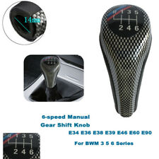 BMW 3 5 6 E34 E36 E38 E39 E46 E60 E90 Carbon & PU Leather Gear Shift Knob 6+R