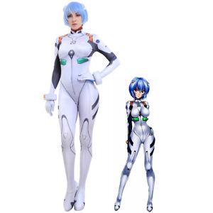 3D Printed EVA Rei Ayanami Cosplay Costume White Bodysuit Jumpsuit