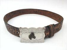 "Wrangler Belt Rodeo Vintage Western Brown Tooled Silver Buckle Horses Trees 25"""