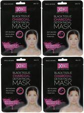 4 X Xbc Negro Tejido Carbón Detox Facial Cara Máscara Con Ácido Hialurónico