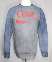 Coke Coca Cola Gray/Blue Distressed Logo L/S Sweatshirt Men's Size Medium