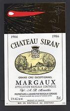 MARGAUX GCE VIEILLE ETIQUETTE CHATEAU SIRAN 1986 DECOREE  §17/11/16§