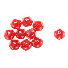 Set/10pcs Red Twelve Sided Dungeons & Dragons RPG Roleplay Games D12 Dice