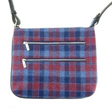 Ladies Authentic Harris Tweed Teviot Multi-Zip Bag Red/Blue Check LB1229 COL 53