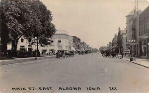 H73/ Algona Iowa RPPC Postcard c1910 Main Street East Garage Hotel Store 76