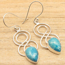 Double Swirl Wire Earrings 2 INCH, Simulated  LARIMAR Silver Plated Jewelry
