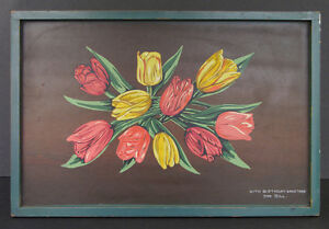 Hand Painted Wooden Tray Bouquet Tulips 1940s WWII Era Tillett Studios, Oscawana
